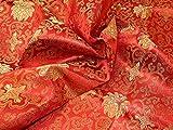 Minerva Crafts Chinesischer Satin-Brokat, Rot/goldfarben