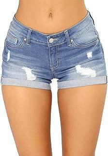 Foucome Women Casual Summer Mid Waist Stretch Denim Jean Shorts Junior Short Denim