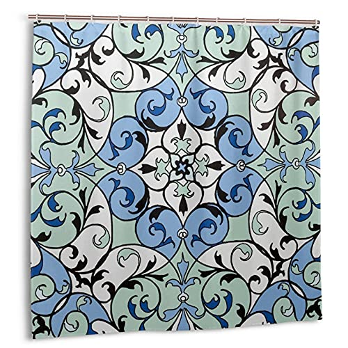 Cortina de ducha de 72 x 72 pulgadas, dobladillo con peso, antimoho y resistente lavable con 12 ganchos, azulejos mexicanos Talavera, 17