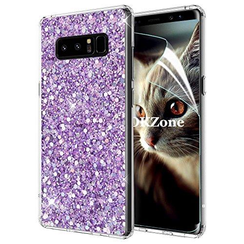 Samsung Galaxy Note 8ケース [HDスクリーンフィルム付き] OKZone キラキラ 目立つデザイン TPU シリコン カバー 耐衝撃ボディ 全面保護 落下防止 ファッション Samsung Galaxy Note 8 適用 (紫)