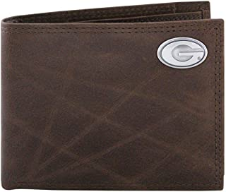 NCAA Georgia Bulldogs Brown Wrinkle Leather Bifold Concho Wallet, One Size