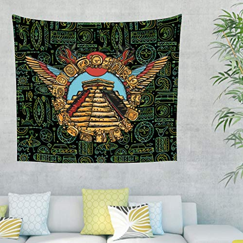 Wingard Leviosar Tapestry Egypt India Mayan Retro Style Wall Tapestries - Large Tablecloths for Living Room white 59x51inch