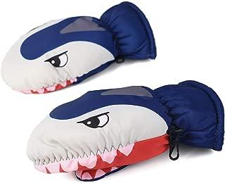 Flammi Kids Ski Mittens Water Resistant Plush Lined Snow Mittens Winter Cartoon Shark for Boys Girls Age 3-5 Years