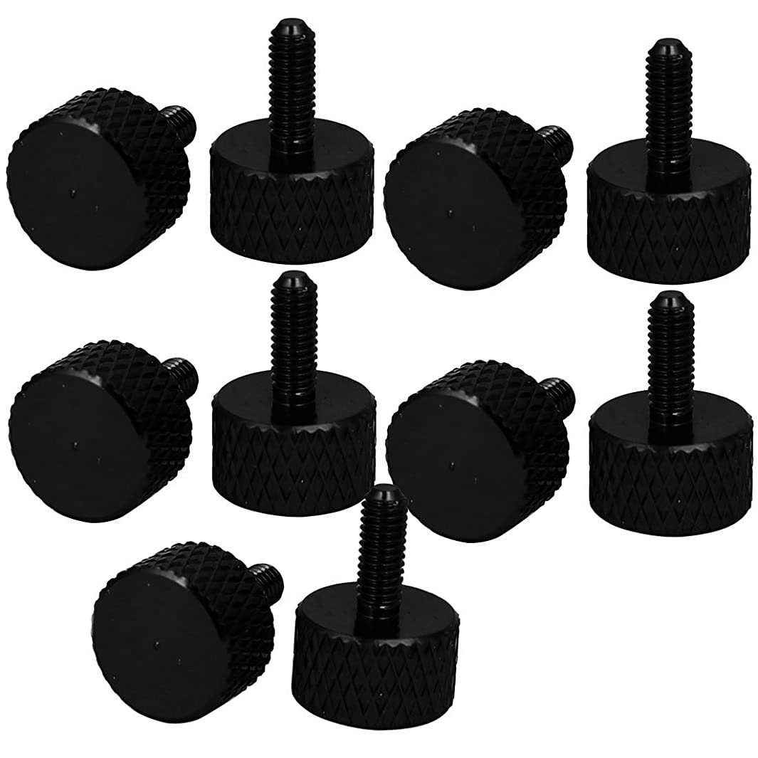 uxcell Computer PC Graphics Card M3x8mm Fully Threaded Knurled Thumb Screws Black 10pcs