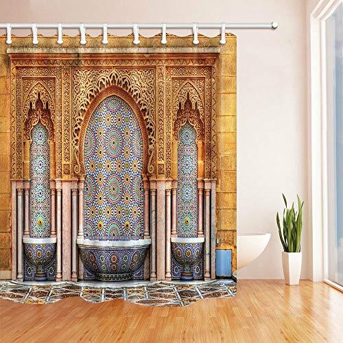123456789 design mozaïekolie, Marokkaanse olie, soort douchegordijn en badmat 71 x 71 cm