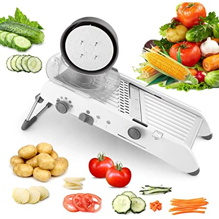 Karidge Mandoline Slicer Adjustable Thickness Vegetable Grater Julienne Slicer, Fruit Slicer, French Fry Cutter, Food Waffle – Kitchen Sharp Stainless Steel Blades Onion Potato Cutter(White)