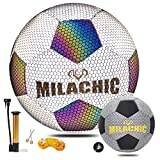 Holographic Glowing Soccer Ball Size 5 with Pump, Reflective Traditional Soccer Ball Light up Soccer Ball Gifts for Men, Boys & Girls Indoor-Outdoor Soccer Training and Practicing