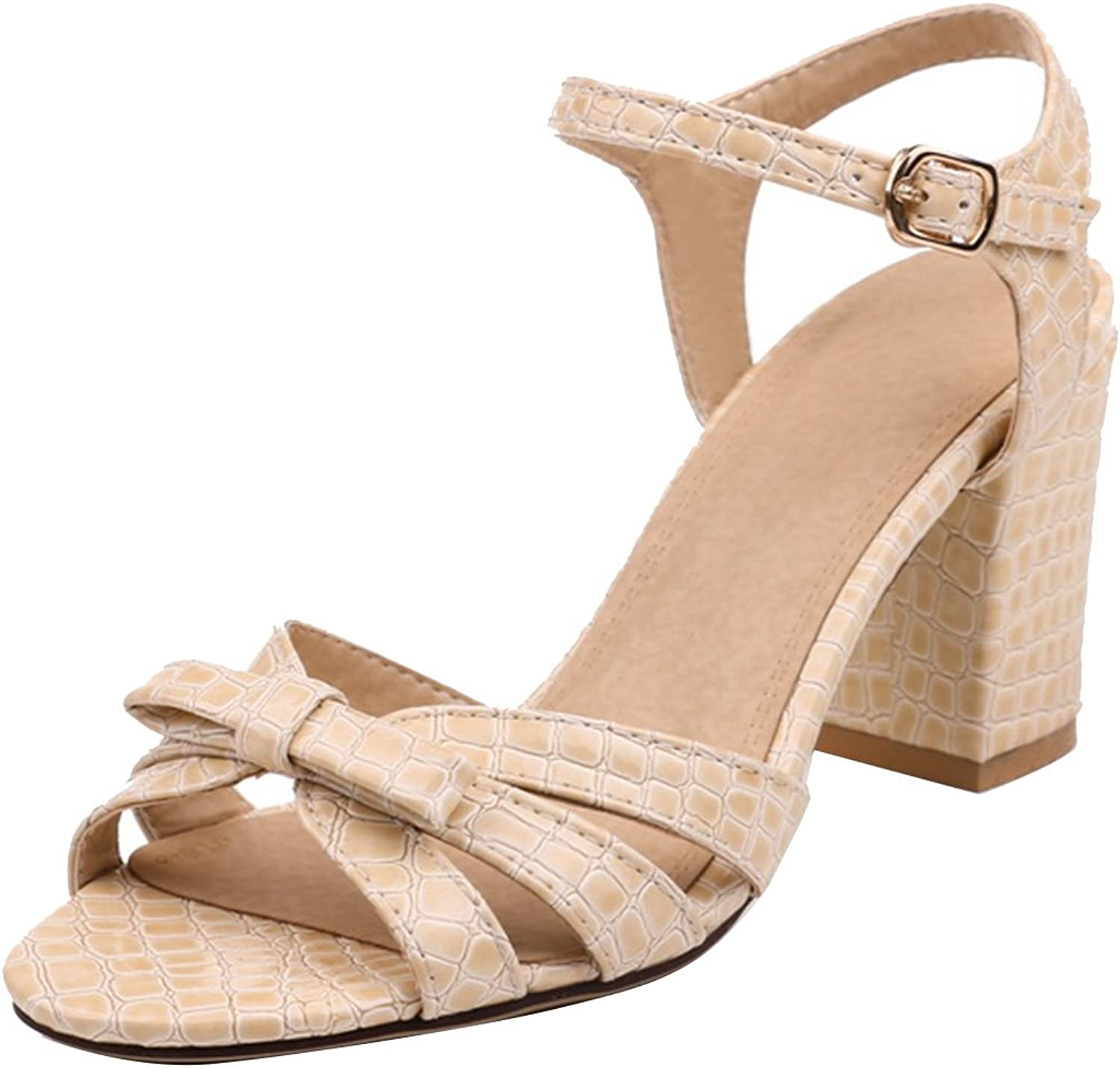 AIYOUMEI Women's Ankle Strap Open Toe Block Heel Sandals shoes with Bow
