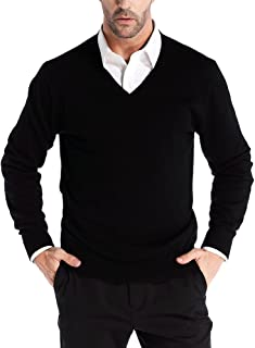 Men's Cashmere Wool Blend Relaxed Fit V-Neck Sweater Pullover