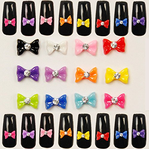 Bluelover 60Pcs 3D Bowtie Acrylique Strass Papillon Nail Art Stickers