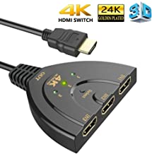 HDMI Switch, 3 Port 4K HDMI Switch 3 in 1 Out with High Speed Switch Splitter Pigtail Cable Supports Full HD 4K 1080P 3D Player