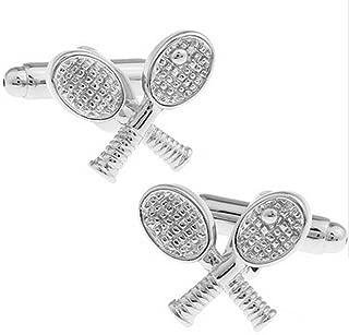 Bullidea 1 Pair Fashion Men's Cufflinks Tennis Rcket Shirt Cufflinks Cuff Links Mens Business Wedding Cufflinks Gift Present(Silver)