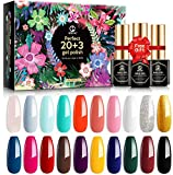 MEFA Gel Nagellack Set 20 Farben mit Glänzend & Matt Top Base Coat Gel Nude Orange Glitter Color Soak Off LED Nagelgel für Nail Art Starter Maniküre Kit, Geschenkbox