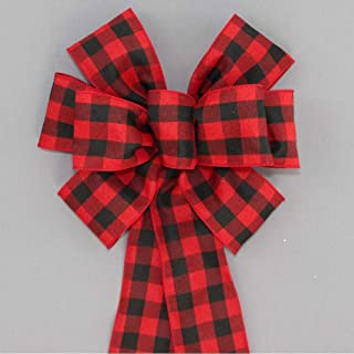 Red Black Buffalo Plaid Christmas Bows with Size Options