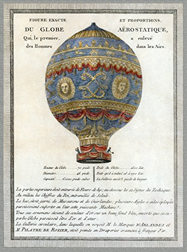 11'x14'Quality Poster Reproduction Print.French hot air Aerostatic Balloon.9603