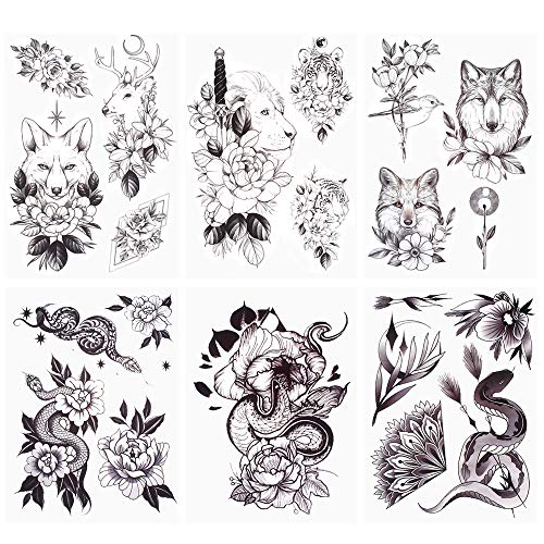 glaryyears 10 Sheets Flower with Animals Temporary Tattoos for Women Men, Black Rose Fake Tattoo Stickers Wolf Fox Lion Sword Tiger Snake Cat,Waterproof on Arm Shoulder Hand Wrist Body Art Large Size