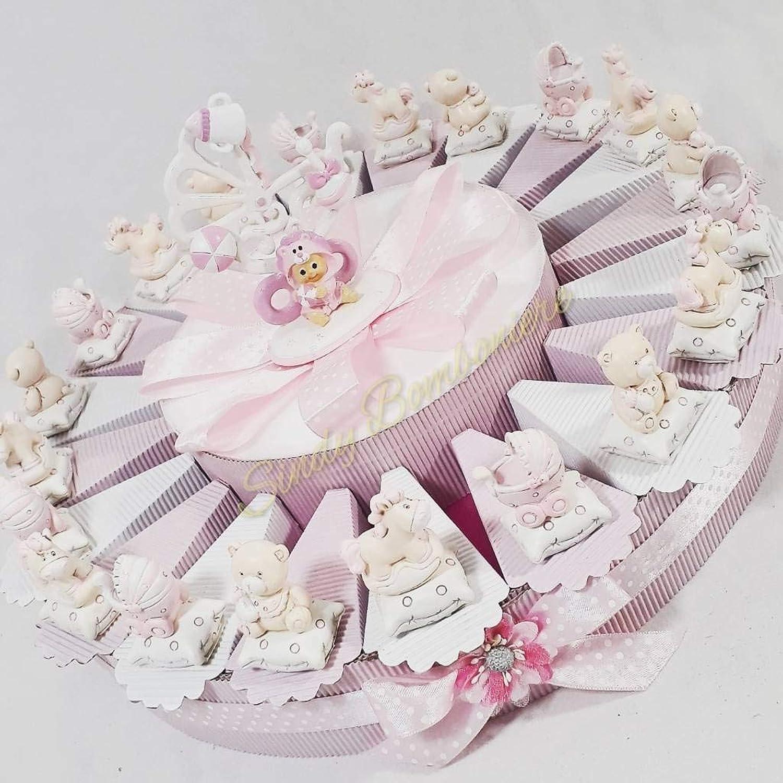 Bonboniere mit Teddy Kinderwagen und Seepferdchen für Taufe Mdchen torta 35 fette