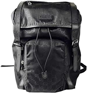 Gucci Men's Backpack Black GG Nylon Drawstring With Leather Trim 510336 1000