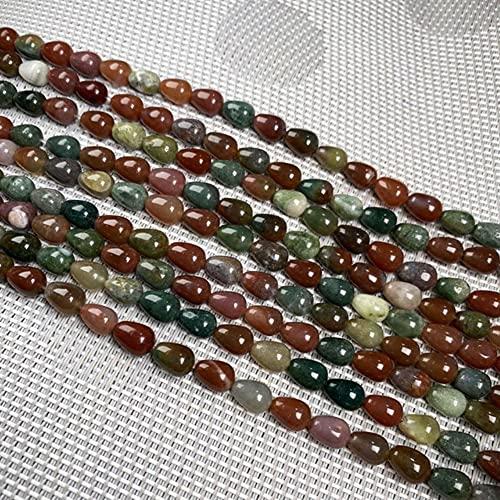 YELVQI Hermosa 44pcs Agua con Forma de Gota de Agua Perlas Naturales Cuarzo Claro Pulsera Collar de joyería para joyería de Bricolaje Regalos de cumpleaños Tamaño 6x9mm (Color : India Agate)
