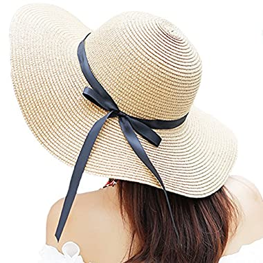 Itopfox Women's Big Brim Sun Hat Floppy Foldable Bowknot Straw Hat Summer Beach Hat Beige
