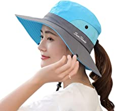 Women's Summer Sun UV Protection Mesh Wide Brim Foldable Beach Fishing Hat with Ponytail Hole