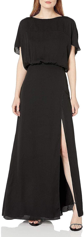 Halston Heritage Women's Flowy Short Sleeve Wide Boatneck Gown with Split