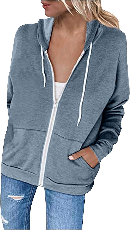 WUHOVILA Women Casual Full Zip Up Hoodie Comfy Loose Sweatshirt Long Sleeve Jacket with Pockets