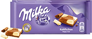 Milka Happy Cow Chocolate Bar Candy Alpenmilch Original German Chocolate 100g/3.52oz (Pack of 2)