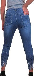 icecoolfashion Jeans in Denim Elasticizzato da Donna con Dettaglio di Borchie Argento 42-54