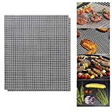 """FOJUY BBQ Grill Mat - 2 Pcs Reusable Barbecue Baking Mats Grill Mat Mesh for Smoker, Pellet, Gas, Charcoal Grill (15.7""""x13"""") Easy to Clean"""