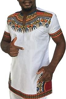Mens African Tribal Dashiki Floral Short Sleeve T Shirt Blouse Tops