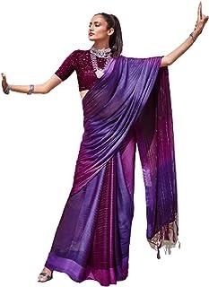 رداء حفلات هندي للسيدات من بوليوود بتصميم أرجواني من الشيفون بألوان قوس قزح مع بلوزة ناعمة بتصميم 6061