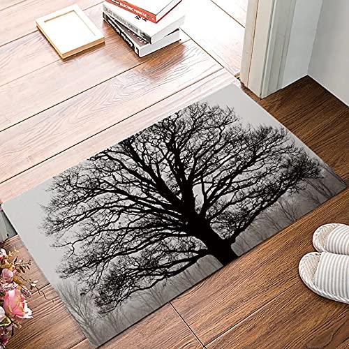 RQJOPE Alfombras Modernas de diseño de árboles en Blanco y Negro, Alfombra de Entrada para baño, Goma Absorbente para baño Interior, Antideslizante Decoración hogareña-40x60cm