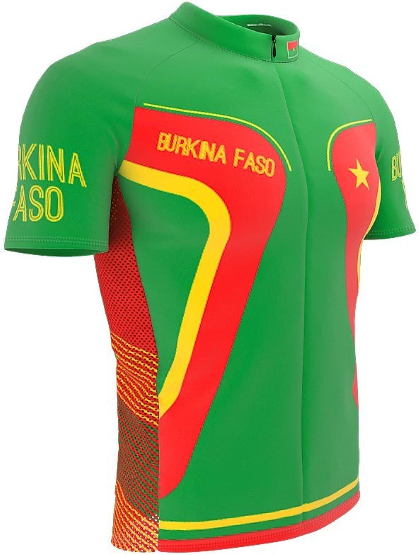 ScudoPro Burkina Faso Full Zipper Bike Short Sleeve Cycling Jersey for Men