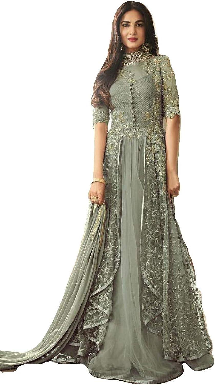 Stylishfashion Women's Indian Pakistani Ethnic wear Net Anarkali Type Salwar Kameez Fashion Party Wear Maisha