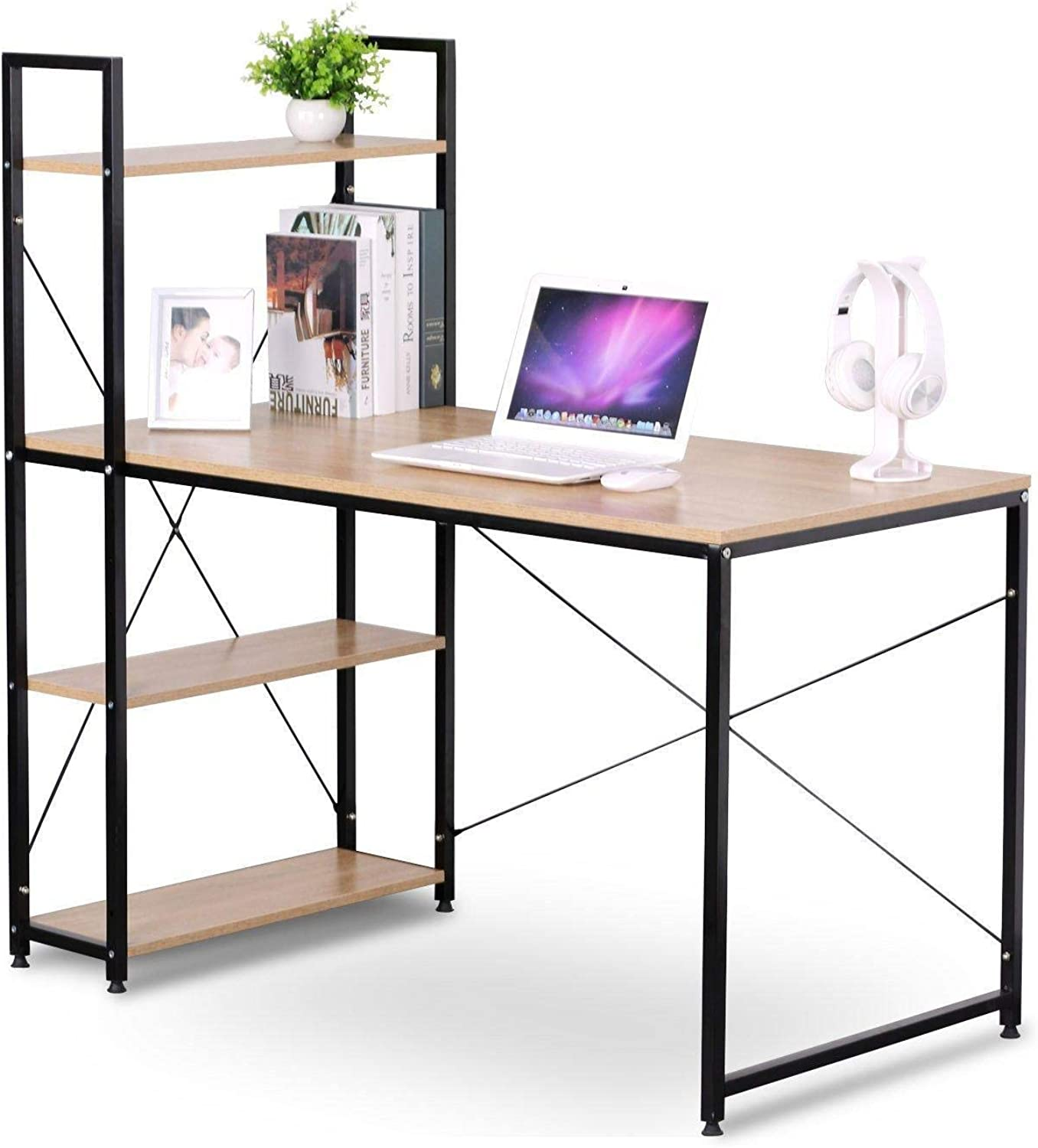Moustache Wood Writing Corner Desk Reading Table Workstation 4-Tier Side Storage Shelves Bookshelves for Computer Home Office School Study