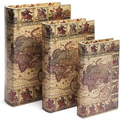 Juvale Fake Books Set, Decorative Books with Secret Compartment in Map Design (3-Piece)