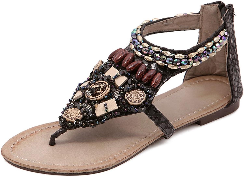 August Jim Women Thong Sandals Bohemia Sling Rhinestone Beads Clip Toe Yoga Flip Flop Flats Gladiator shoes