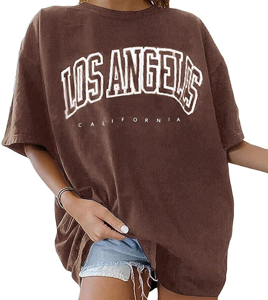 T-Shirt Damen Oversized Mode Lose Rundhals Kurzarm Sommer Oberteile Vintage Drucken Bluse Streetwear Sport Oberteile Vintage Sweatshirt Teenager Mädchen Tunika Lang Tops