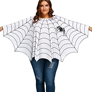 New Women's Plus Size Long Sleeve Spider Web Printed Poncho Top Blouse