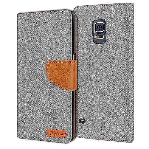 Verco Galaxy S5 Mini Hülle, Schutzhülle für Samsung Galaxy S5 Mini Tasche Denim Textil Book Case Flip Case - Klapphülle Grau