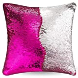 """URSKYTOUS Reversible Sequin Pillow Case Decorative Mermaid Pillow Cover Color Changing Cushion Throw Pillowcase 16"""" x 16"""",Rose Red and Silver"""