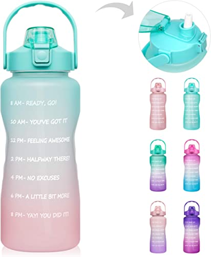 64 OZ/Half Gallon Motivational Water Bottle with Time Marker & Straw - BPA Free Leakproof Tritan Frosted Plastic Big ...