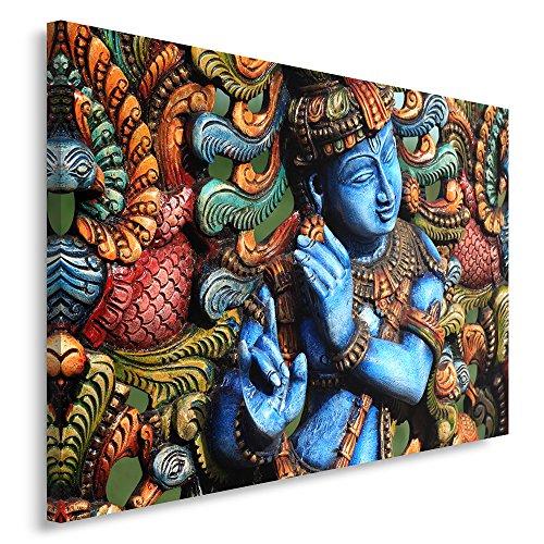 Feeby Frames, Cuadro en Lienzo, Cuadro impresión, Cuadro decoración, Canvas de una Pieza, 50x70 cm, Estatua Buda, Zen, India, Oriente, Multicolor