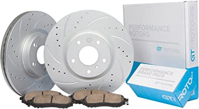 [Front Kit] GT//Rotors Performance Brake Disc Rotors & Ceramic Pads for Honda Accord EX [08-12] TL [99-08] TSX [04-14] CL [01-03]