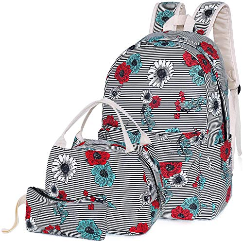 Flower School Backpack for Teen Girls, Teenagers School Bags Bookbags with Lunch Box Pencil Case (Floral Black)