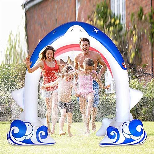 JJZXLQ Rociadores inflables para niños, juguetes inflables de agua de arco de tiburón gigante de 7.7 pies, para la familia al aire libre fiesta del agua del niño en verano