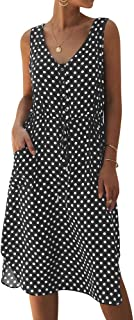 TrendyCosmo Women's Dresses Summer Casual Sleeveless V Neck Solid Color Drawstring Polka Dot Midi Dress with Pockets