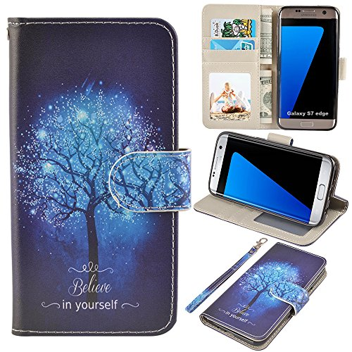 UrSpeedtekLive S7 Edge Case, Galaxy S7 Edge Wallet Case, Premium PU Leather Wristlet Flip Case Cover with Card Slots & Stand for Samsung Galaxy S7 Edge, Believe in Yourself
