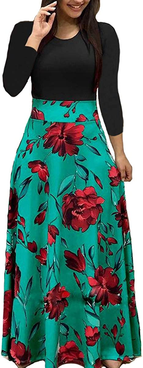 Women's Long Sleeve Floral Maxi Dress O-Neck Casual Swing Long Maxi Dresses, 2 Green-Long Sleeve XXL